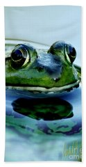 Green Frog I Only Have Eyes For You Bath Towel by Carol F Austin