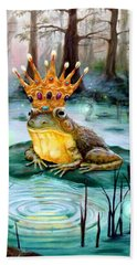 Hand Towel featuring the painting Frog Prince by Heather Calderon