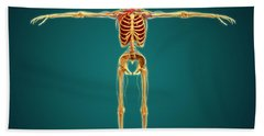 Front View Of Human Skeleton Bath Towel