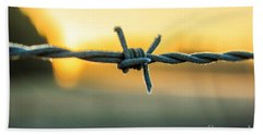 Frost On Barbed Wire At Sunrise Hand Towel