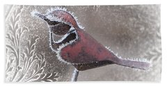 Hand Towel featuring the photograph Frosty Cardinal by Patti Deters
