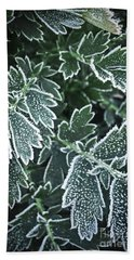 Frosty Leaves In Late Fall Hand Towel
