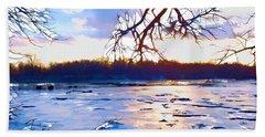 Frozen Delaware River Sunset Bath Towel