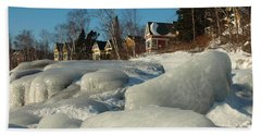 Hand Towel featuring the photograph Frozen Surf by James Peterson