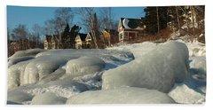 Bath Towel featuring the photograph Frozen Surf by James Peterson