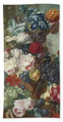 Fruit And Flowers In A Terracotta Vase Hand Towel