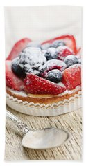 Fruit Tart With Spoon Bath Towel