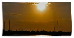 Hand Towel featuring the photograph Ft. Pierce Florida Docks At Dusk by Janice Rae Pariza