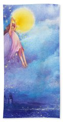 Hand Towel featuring the painting Full Moon Fairy Nocturne by Judith Cheng
