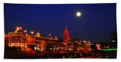 Full Moon Over Plaza Lights In Kansas City Hand Towel
