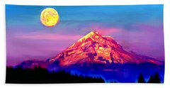 Full Moon Rising Over Mount Hood Oregon Hand Towel