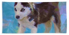 Alaskan Husky Sled Dog Puppy Hand Towel