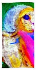 Funky Barn Owl Art Print Bath Towel