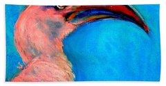 Funky Red-billed Hornbill Art Print Hand Towel