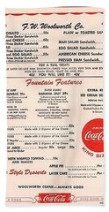 Fw Woolworth Lunch Counter Menu Bath Towel by Thomas Woolworth