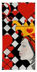 Bath Towel featuring the painting Gabby Queen Of Hearts by Carol Jacobs