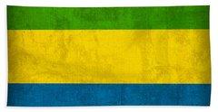 Gabon Flag Vintage Distressed Finish Bath Towel