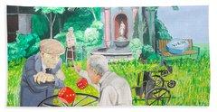 Bath Towel featuring the painting Gambling Grandma  by Lazaro Hurtado