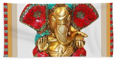 Ganapati Ganesh Idol Hinduism Religion Religious Spiritual Yoga Meditation Deco Navinjoshi  Rights M Bath Towel by Navin Joshi