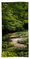 Garden Bench Hand Towel by Joe Mamer
