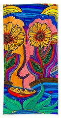 Garden Face - Lotus Pond - Daisy Eyes Hand Towel