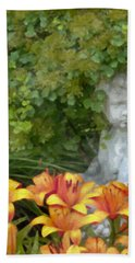 Bath Towel featuring the photograph Garden Girl And Orange Lilies Digital Watercolor by Sandra Foster