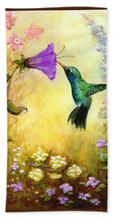 Garden Guest In Brown Hand Towel by Terry Webb Harshman