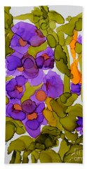 Garden Of Hollyhocks Hand Towel by Vicki  Housel