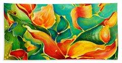 Bath Towel featuring the painting Garden Series No.3 by Teresa Wegrzyn