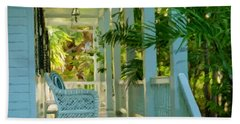Gardens Porch In Key West Bath Towel by David  Van Hulst