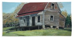 Hand Towel featuring the painting Gates Chapel - Ellijay Ga - Old Homestead by Jan Dappen