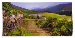Bath Towel featuring the photograph Gates On The Road. Wicklow Hills. Ireland by Jenny Rainbow