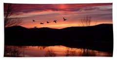 Geese After Sunset Bath Towel