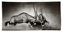 Gemsbok Fight Hand Towel