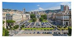 Genova - Piazza Della Vittoria Overview Hand Towel by Antonio Scarpi