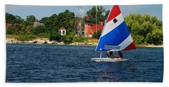 Gentle Sails And Little Traverse Lighthouse Hand Towel