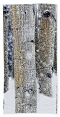 Gently Falling Forest Snow Hand Towel by Don Schwartz