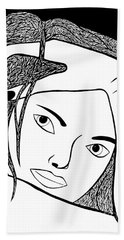 Hand Towel featuring the drawing Genuine Scars by Jamie Lynn