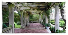 Hand Towel featuring the photograph George Eastman Home Pergola Rochester Ny  by Jodie Marie Anne Richardson Traugott          aka jm-ART