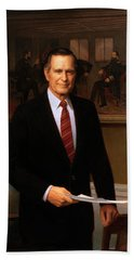 George Hw Bush Presidential Portrait Hand Towel by War Is Hell Store