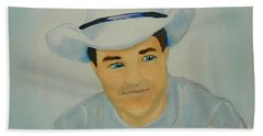 Hand Towel featuring the painting George by Marisela Mungia