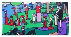 George Seurat- A Cyclops Sunday Afternoon On The Island Of La Grande Jatte Hand Towel by Thomas Valentine