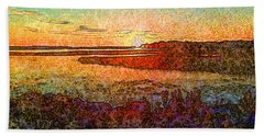 Georgian Bay Sunset Hand Towel by Claire Bull