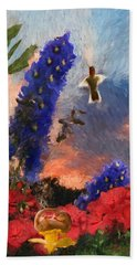 Geraniums Red And Delphiniums Blue Hand Towel