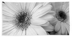 Gerber Daisies In Black And White Bath Towel by Jennie Marie Schell