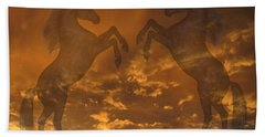 Ghost Horses At Sunset Bath Towel
