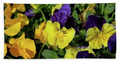 Giant Garden Pansies Hand Towel by Ed  Riche