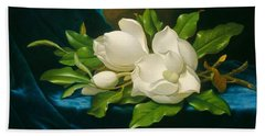 Giant Magnolias On A Blue Velvet Cloth Bath Towel