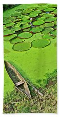 Giant Water Lilies And A Dugout Canoe In Amazon Jungle-peru Hand Towel