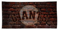 Giants Baseball Graffiti On Brick  Bath Towel